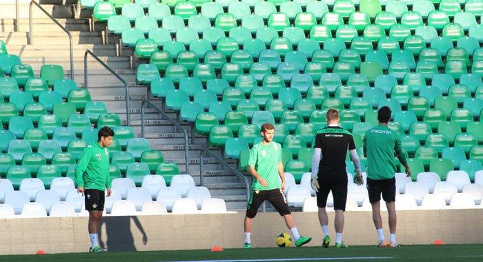 Baptistao, en su primer entrenamiento con el Betis.  (Real Betis).