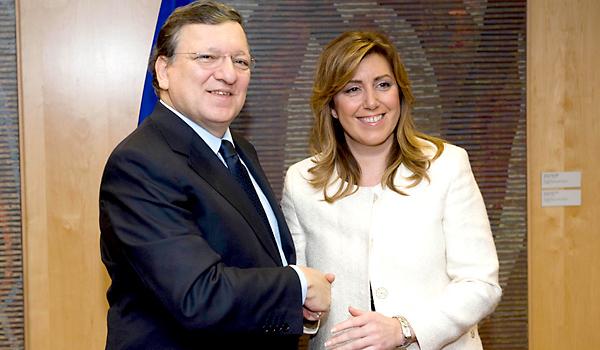 Durao Barroso y Susana Díaz este miércoles en Bruselas. / E.P.