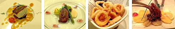 De izda. a dcha., Bacalao, Lomito de Corzo, Calamares fritos y Carré de Cordero.