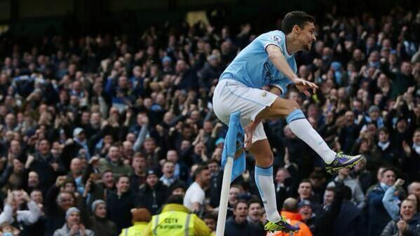 Así celebró su gol Jesús Navas (Foto: M.City)