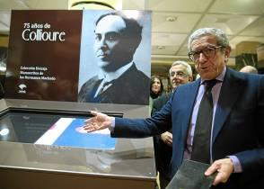 El presidente de Unicaja, Braulio Medel, presenta la muestra '75 años de Collioure'. / EFE