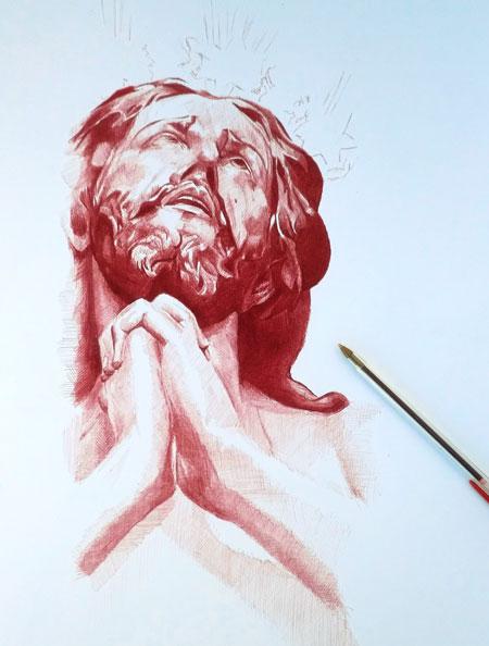 El Señor de las Penas, de la Estrella, a tinta roja.