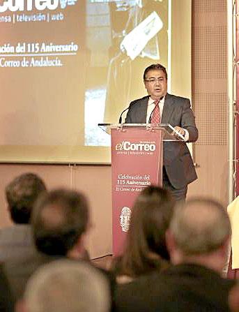 El alcalde, Juan Ignacio Zoido, en un momento de su intervención en el acto del 115 aniversario de El Correo. / Pepo Herrera