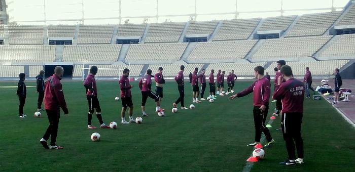 Los jugadores del Rubin Kazan, el domingo en el estadio de La Cartuja / FC Rubin