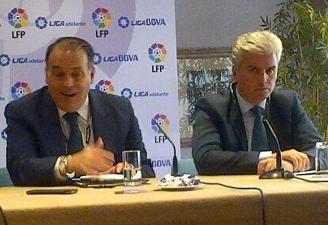 Javier Tebas y Miguel Guillén, juntos en Sevilla en noviembre.