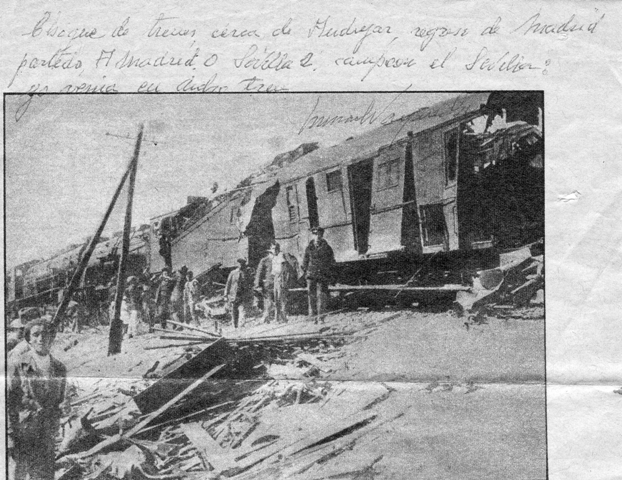 Imagen del tren accidentado. (Foto: departamento de Historia del Sevilla FC)