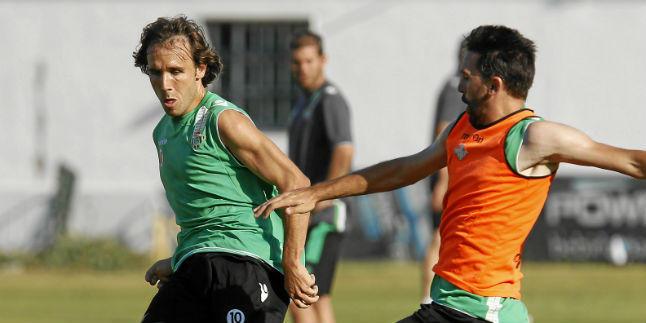 Verdú y Jordi Figueras, en un entrenamiento.