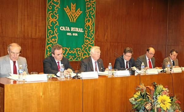 La cúpula de la Rural del Sur, con José Luis García Palacios presidiendo (en el centro), ayer durante la asamblea de socios de la cooperativa en Sevilla. / EL CORREO
