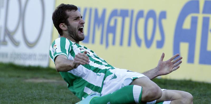 Baptistao celebra el gol que marcó al Getafe, uno de los dos que ha hecho en el Betis.