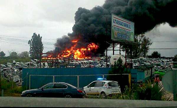 Imagen del incendio, por @suarezbetico (Twitter)