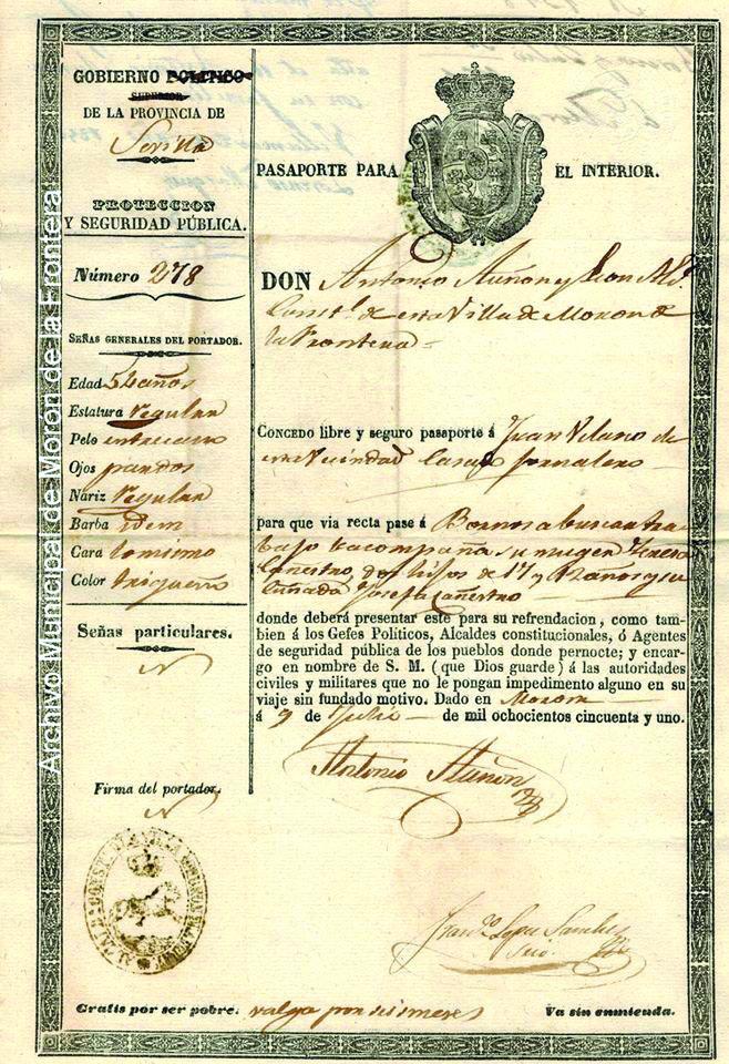 El pasaporte de 1851 puede verse en la página de Facebook.