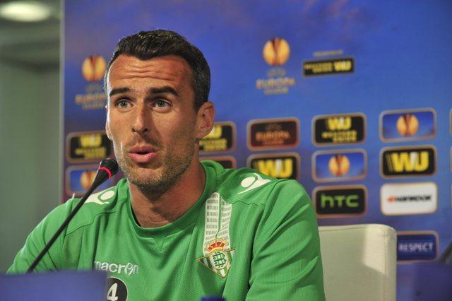 Antonio Amaya, este miércoles en la rueda de prensa en el Villamarín / Kiko Hurtado