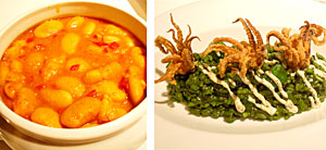 Fuera de carta, las fabes las sirven como guiso del día, y el risotto con algas y chipirones.