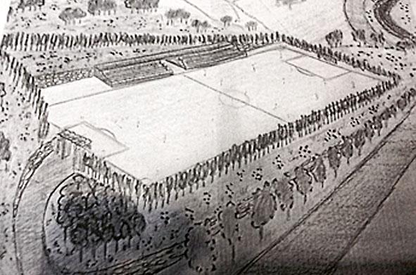 Boceto con la zona descubierta y con el proyecto del campo de fútbol.