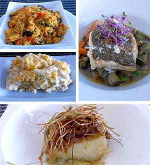 Cuscús de verdura y ensaladilla, bacalao de Enma con cebolla confitada, ajo, almendras y pasas; y Merluza de pincho con menestra.