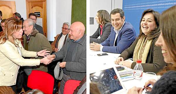 La presidenta de la Junta, Susana Díaz, de visita en Almería; y el presidente del PP andaluz ayer en una reunión con su equipo. / Jose Manuel Vidal/ Carlos Barba (Efe)