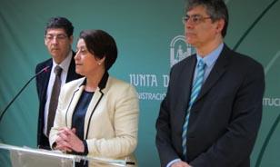 Diego Valderas, hoy junto a Dolores Muñoz y José Luis Pérez Tapias