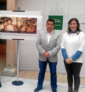 Las autoridades posan con el cartel del III Romanorum Festum Ventippo.