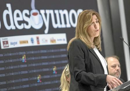 La presidenta de la Junta, Susana Díaz, ayer en el desayuno informativo organizado por el Diario Córdoba. / EFE