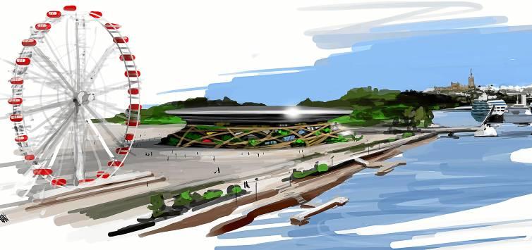 Recreación virtual realizada por los promotores del proyecto Sevilla Park, ubicado junto al puente de las Delicias.