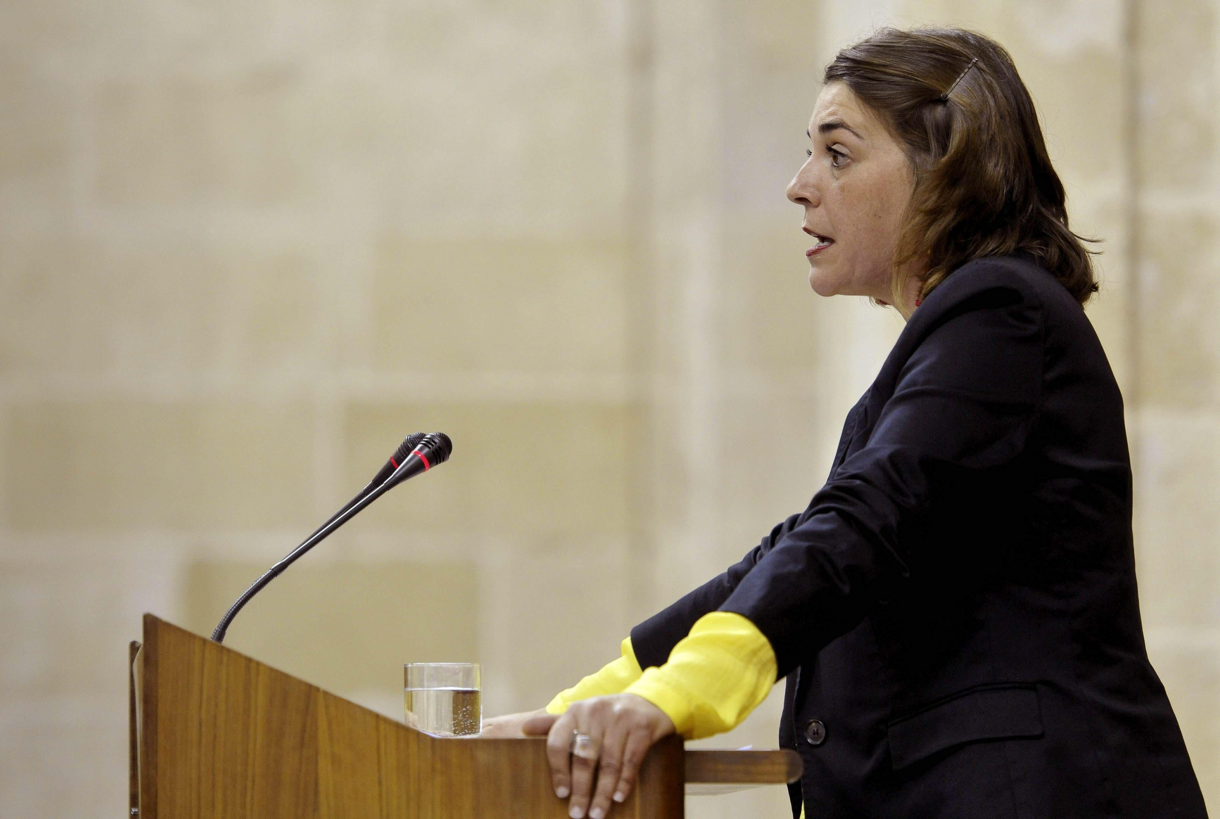 La consejera andaluza de Fomento y Vivienda, Elena Cortés, comparece en el Parlamento este martes. / EFE