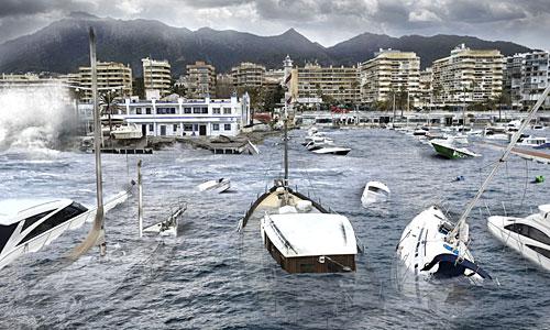 Imagen cedida por Greenpeace de un montaje de como se vería afectada la ciudad de Marbella por la subida del nivel del mar en 2100.