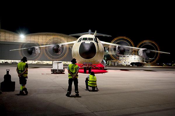 Pruebas de un A400M en la planta de Sevilla. / Airbus
