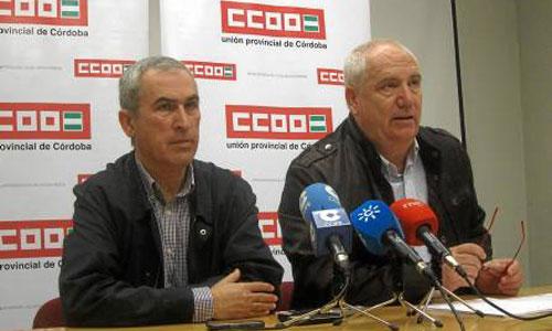 Rafael Rodríguez y Francisco Carbonero, de CCOO, durante la rueda de prensa que ofrecieron ayer. / Foto: Europa Press