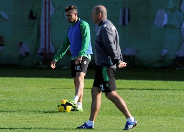 Rubén Castro y Pepe Mel, juntos en un entrenamiento en la ciudad deportiva.