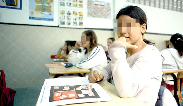 Niños gitanos en un colegio de Sevilla.