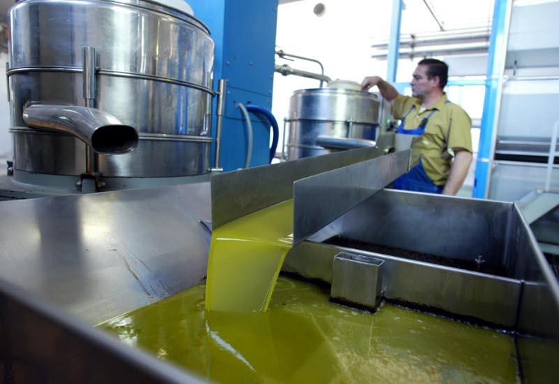 Un trabajador controla la salida de aceite de oliva virgen extra en las instalaciones de Oleoestepa. / JAVIER DÍAZ