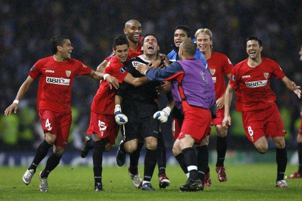 Glasgow acogió el segundo título del Sevilla en esta competición. (Efe)