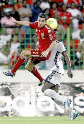 Jesús Navas, durante el partido ante Guinea del pasado noviembre. / Pablo García