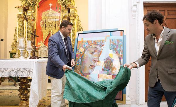El cartel, pintado por José Cerezal, fue presentado ayer en la capilla de la calle Evangelista. / Pepo Herrera