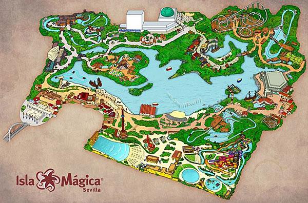El parque de Isla Mágica al completo. La zona inferior es Agua Mágica.