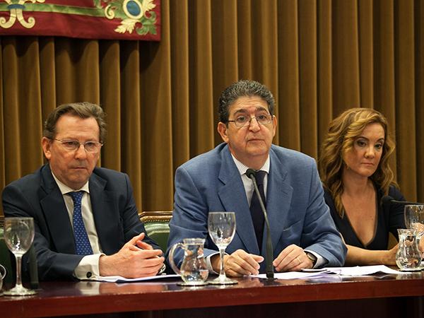 Emilio de Llera, José Joaquín Gallardo y Rosa Díaz, ayer en el acto de presentación del Instituto Andaluz de Arbitraje. / El Correo