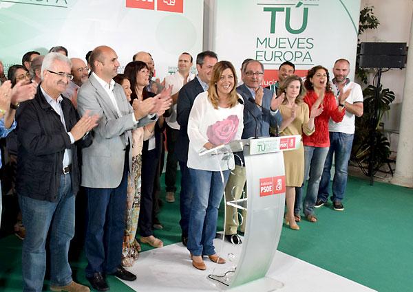 Susana Díaz en la noche electoral este domingo tras conocer los resultados en Andalucía.