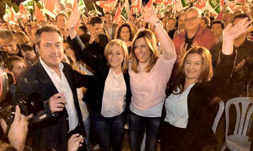 Espadas, Valenciano, Díaz y Pérez, en el cierre de campaña del PSOE