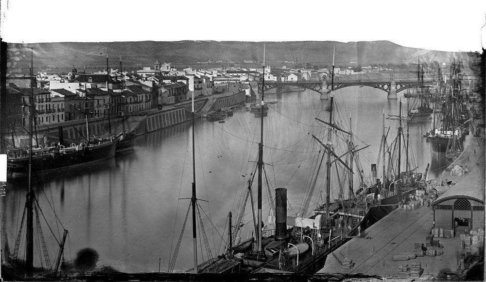 Vista de Triana desde la Torre del Oro. Entre 1860 y 1886.