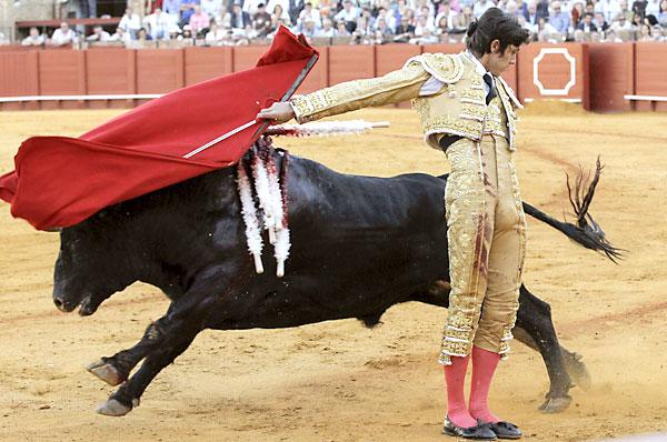 El diestro francés Sebastian Castella con la muleta a su segundo toro. EFE/Julio Muñoz