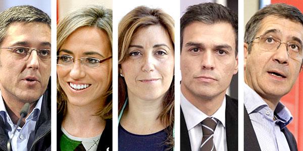 De izda. a dcha.: Eduardo Madina, Carme Chacón, Susana Díaz, Pedro Sánchez y Patxi López.