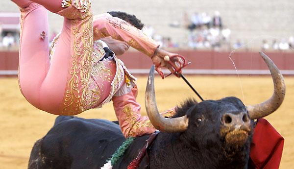 El diestro David Galván sufre una cogida en su último toro. EFE / José Manuel Vidal