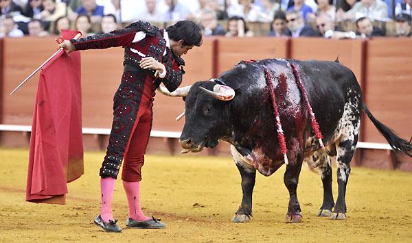 El diestro mexicano Joselito Adame en la faena a su primer toro. / Raúl Caro