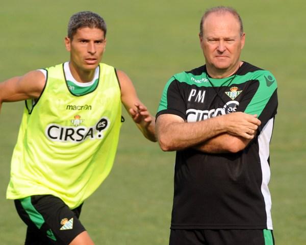 Salva Sevilla y Pepe Mel, juntos en un entrenamiento / Kiko Hurtado