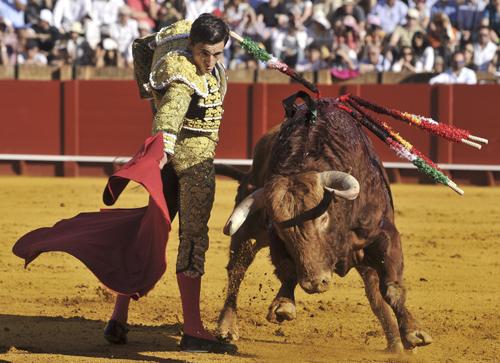 El diestro Paco Ureña en un quite ante el primero de la tarde. / EFE