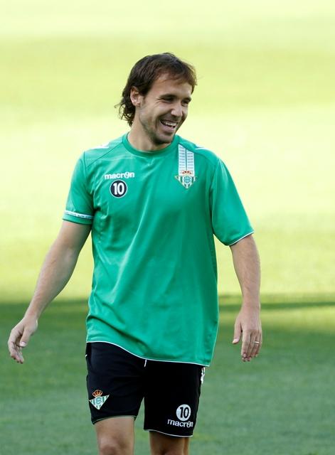 Joan Verdú, sonriente en el entreno de este sábado / Ramón Navarro