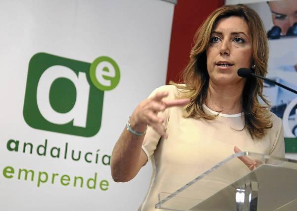 La presidenta de la Junta y secretaria general del PSOE-A,Susana Díaz, ayer en un acto con emprendedores en Sevilla. / Raúl Caro (EFE)