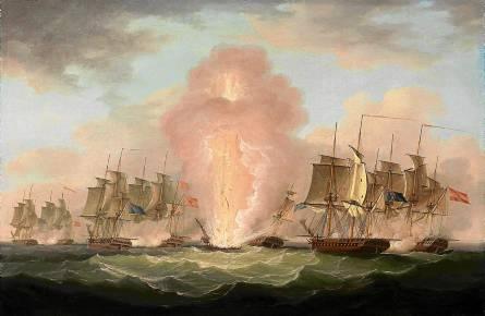 La explosión de la fragata Nuestra Señora de las Mercedes en el combate del Cabo Santa María. Francis Sartorius, 1807. / El Correo