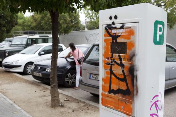 Uno de los parquímetros vandalizados en Bami. / Pepo Herrera