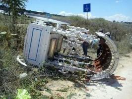 El Simpecado de Osuna sufrió una caída sin tener que lamentar daños personales ni materiales. Foto: Arahal Información